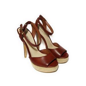 BOSTON PROPER Burgundy Leather Heels Size 7.5